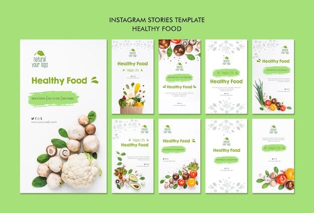 Modèle d'histoires isntagram de nourriture saine