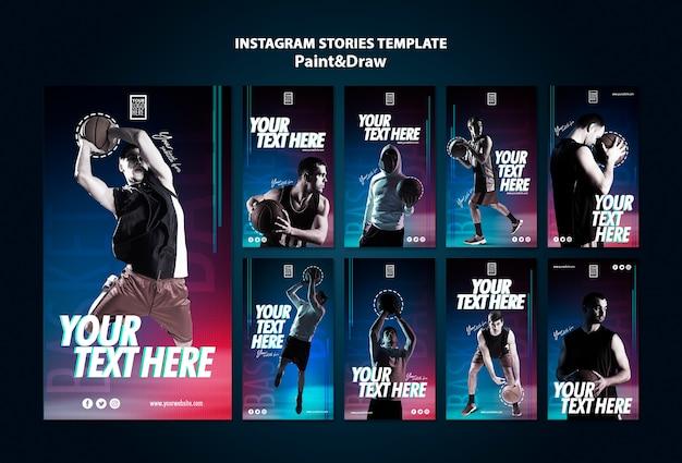 Modèle d'histoires de joueur de basket-ball instagram