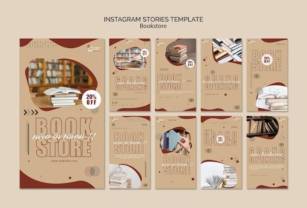 Modèle d'histoires de librairie et instagram