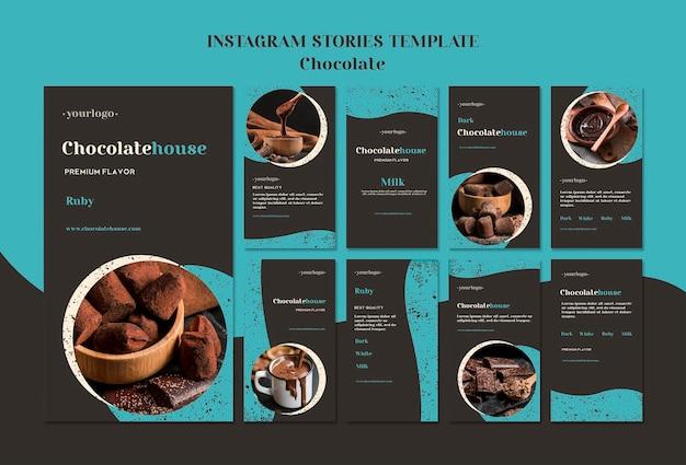 Modèle d'histoires de maison au chocolat