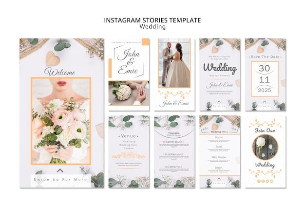 Modèle d'histoires de mariage avec instagram