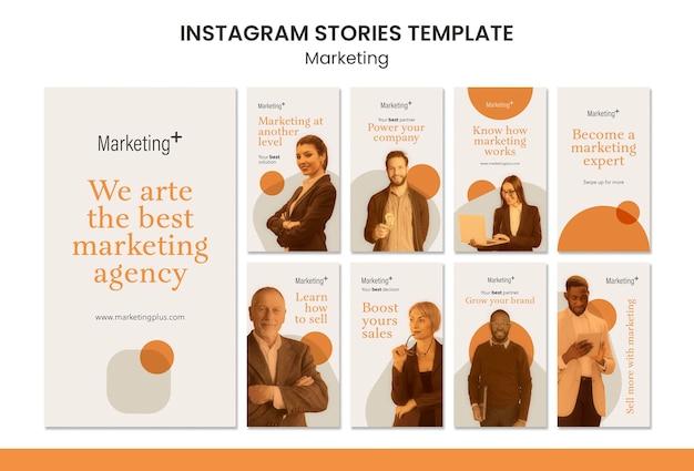 Modèle d'histoires de marketing instagram avec photo