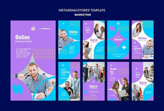 Modèle d'histoires de marketing instagram