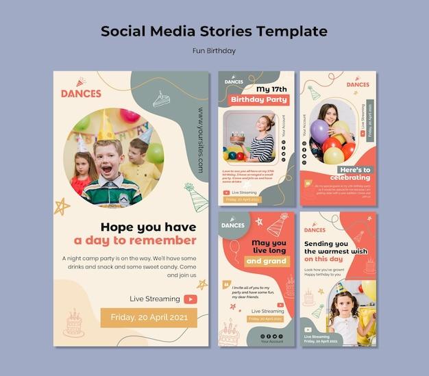 Modèle d'histoires de médias sociaux d'anniversaire amusantes