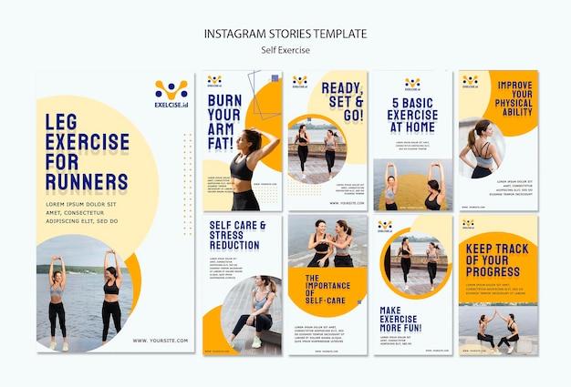 Modèle d'histoires de médias sociaux d'auto-exercice