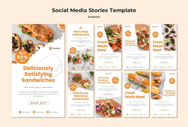Modèle d'histoires de médias sociaux concept sandwich