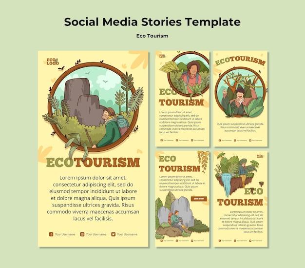 Modèle d'histoires de médias sociaux de concept de tourisme écologique