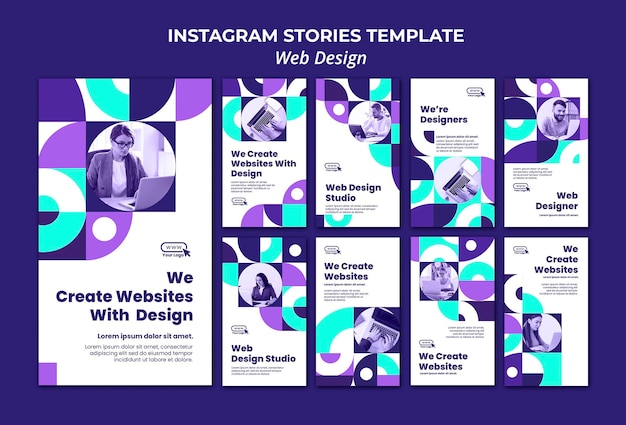 Modèle d'histoires de médias sociaux de conception web