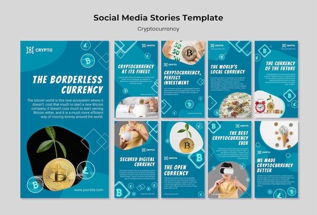 Modèle d'histoires de médias sociaux de crypto-monnaie