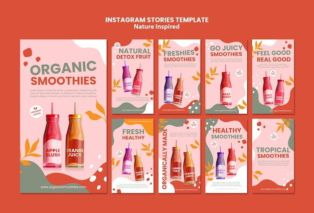 Modèle d'histoires de médias sociaux délicieux smoothies organiques