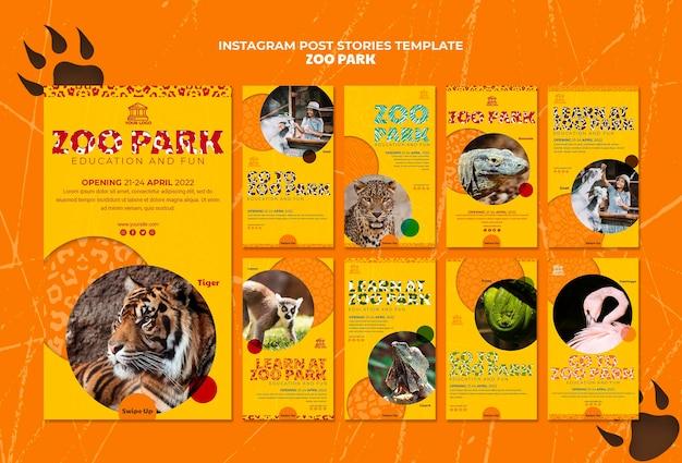 Modèle d'histoires de médias sociaux du parc zoologique