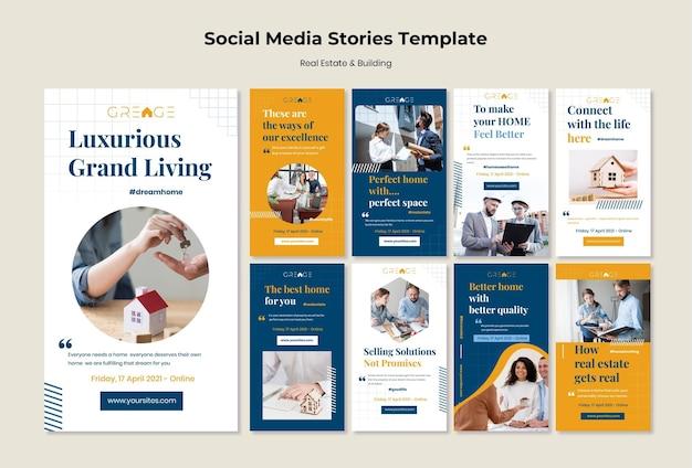 Modèle d'histoires de médias sociaux immobiliers