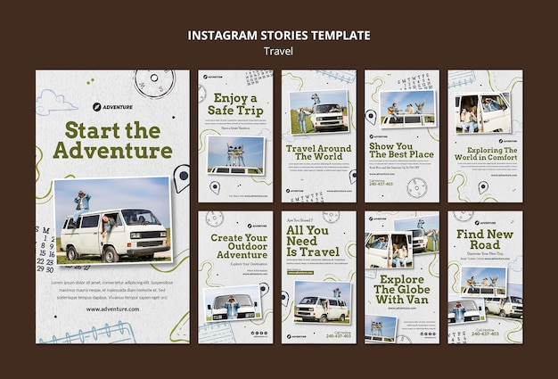 Modèle d'histoires de médias sociaux itinérants avec photo