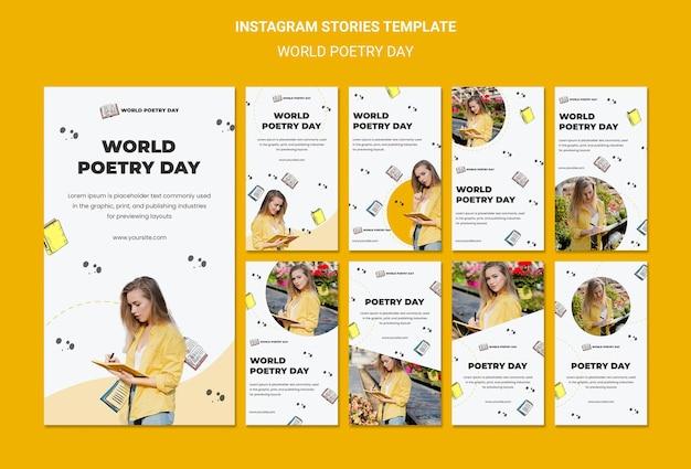 Modèle d'histoires de médias sociaux de la journée mondiale de la poésie