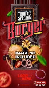 Modèle d'histoires de médias sociaux livraison spéciale de hamburgers d'aujourd'hui