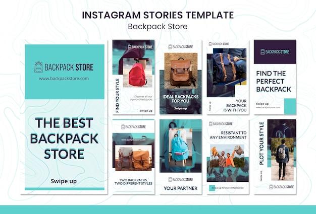 Modèle d'histoires de médias sociaux de magasin de sac à dos