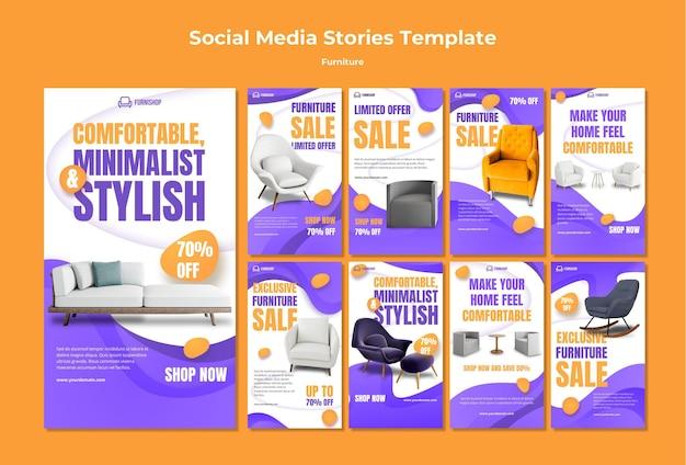 Modèle d'histoires de médias sociaux de meubles