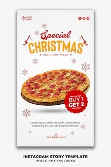 Modèle d'histoires de médias sociaux de noël pour un menu de restauration rapide pizza
