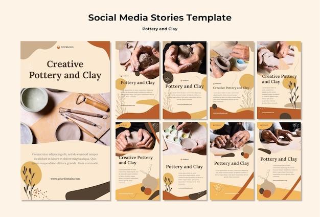 Modèle d'histoires de médias sociaux de poterie et d'argile
