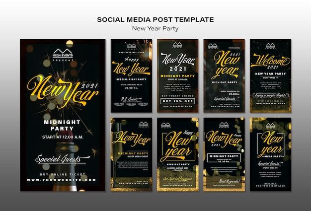 Modèle d'histoires de médias sociaux pour la fête du nouvel an
