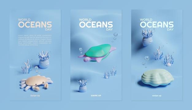Modèle d'histoires de médias sociaux pour la journée mondiale des océans