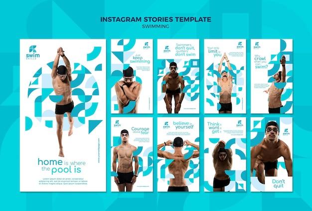 Modèle d'histoires de médias sociaux pour les leçons de natation