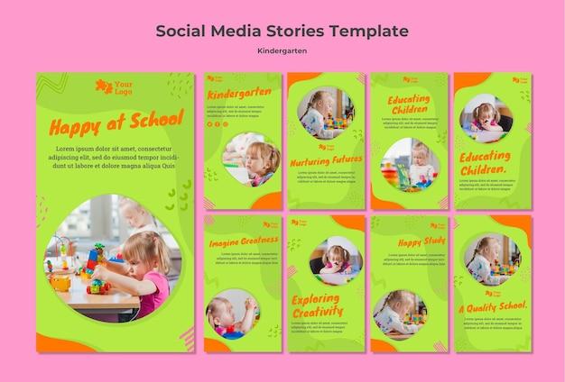 Modèle d'histoires de médias sociaux pour la maternelle