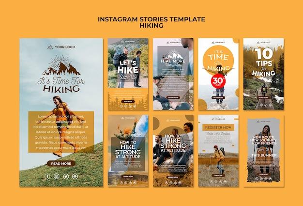 Modèle d'histoires de médias sociaux de randonnée