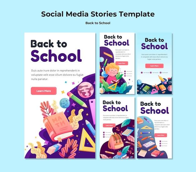 Modèle d'histoires de médias sociaux de retour à l'école