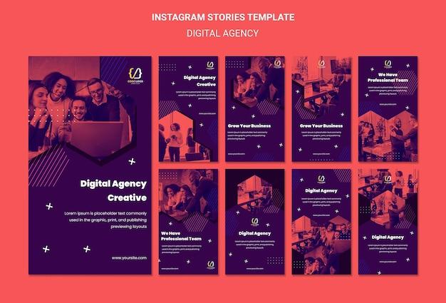 Modèle d'histoires de médias sociaux de solutions d'agence numérique