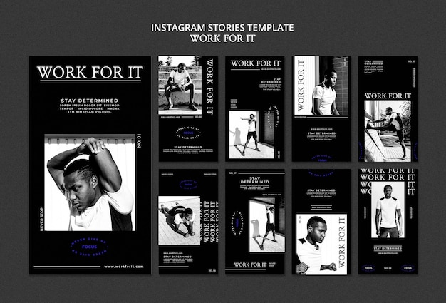 Modèle d'histoires de médias sociaux workout for it