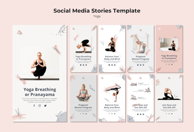 Modèle d'histoires de médias sociaux de yoga