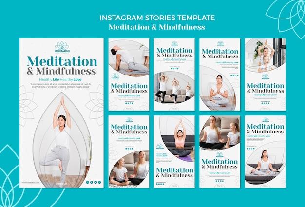 Modèle d'histoires de méditation instagram
