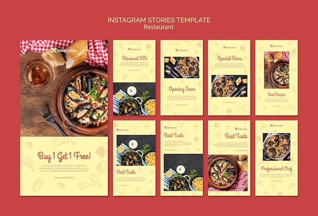 Modèle d'histoires de menu de restaurant instagram