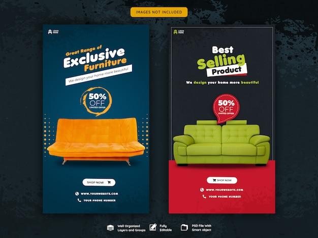 Modèle d'histoires de meubles instagram