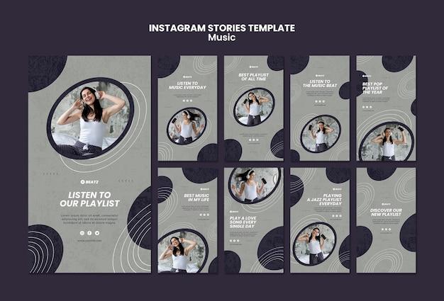 Modèle d'histoires de musique instagram