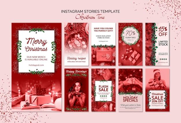 Modèle d'histoires de noël avec instagram