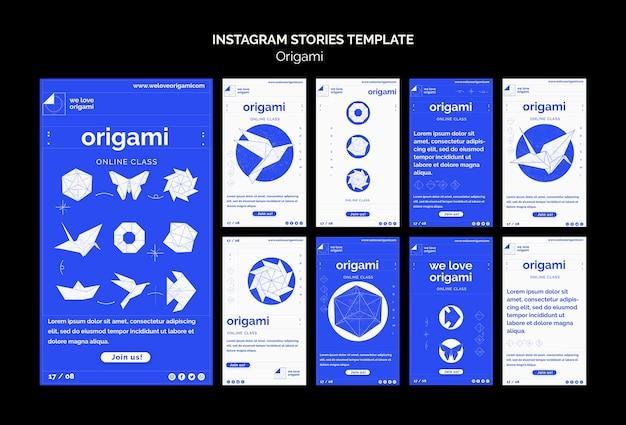 Modèle d'histoires d'origami instagram
