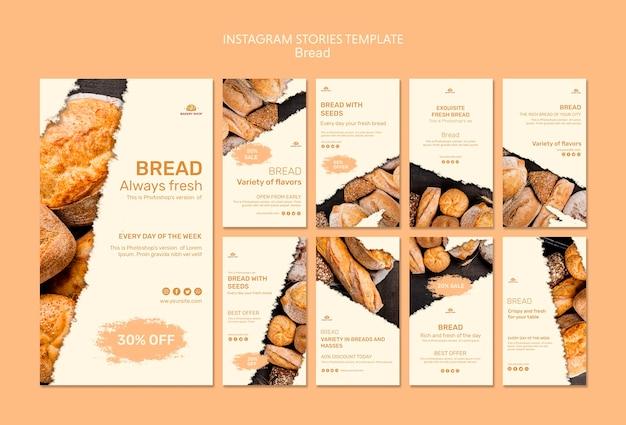 Modèle d'histoires de pain boutique instagram