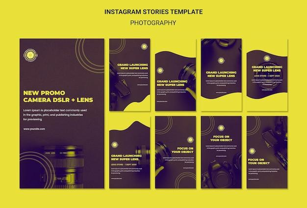 Modèle d'histoires de photographie et instagram