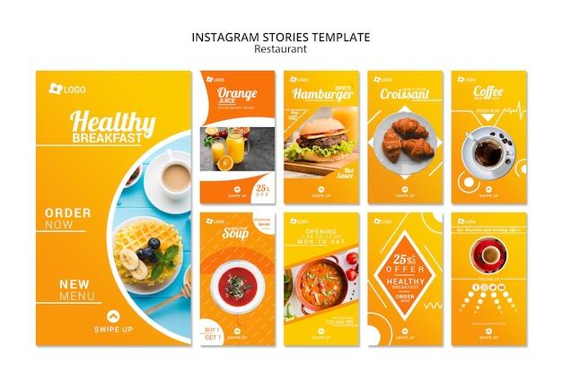 Modèle d'histoires promotionnelles d'un restaurant