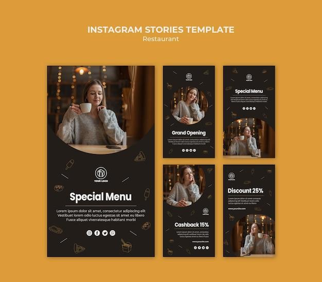 Modèle d'histoires de restaurant instagram