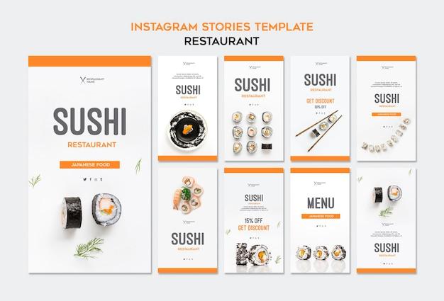 Modèle d'histoires de restaurant de sushi