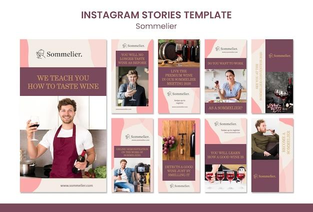Modèle d'histoires de sommelier et instagram