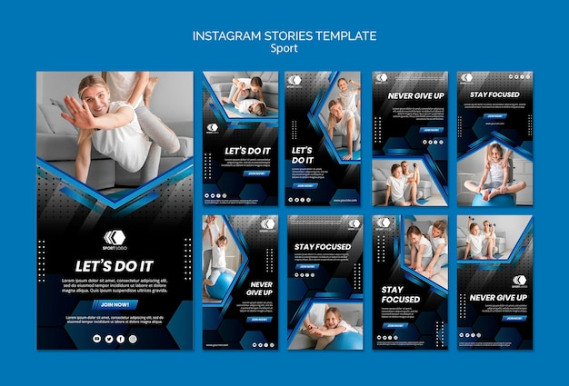 Modèle d'histoires sportives instagram