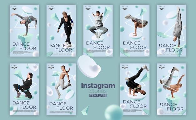 Modèle d'histoires de studio de danse