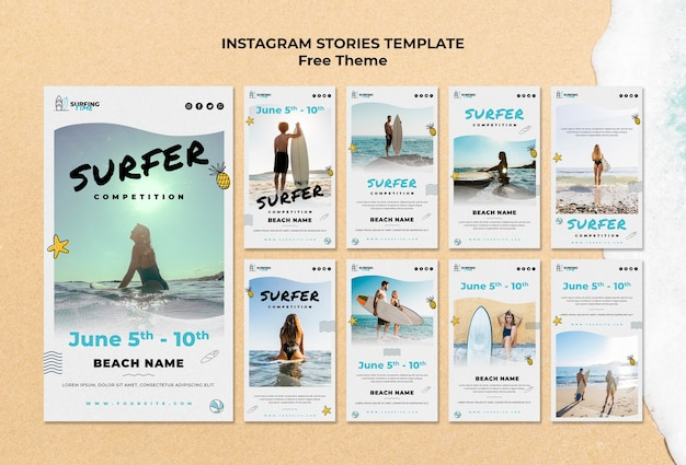 Modèle d'histoires de surfeur instagram