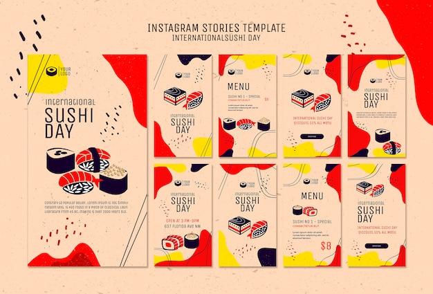 Modèle d'histoires de sushi instagram