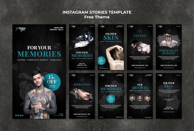 Modèle d'histoires de tatouage instagram