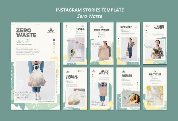 Modèle d'histoires zéro déchet instagram